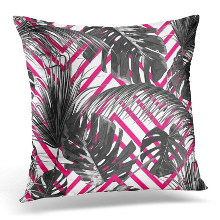 CMFUN Tropical Floral with Palm Leaves Jungle Leaf Tropic Monochrome Black and White on Abstract Striped Pillow Case Cushion Cover 18x18 Inches](Jungle Leaf)