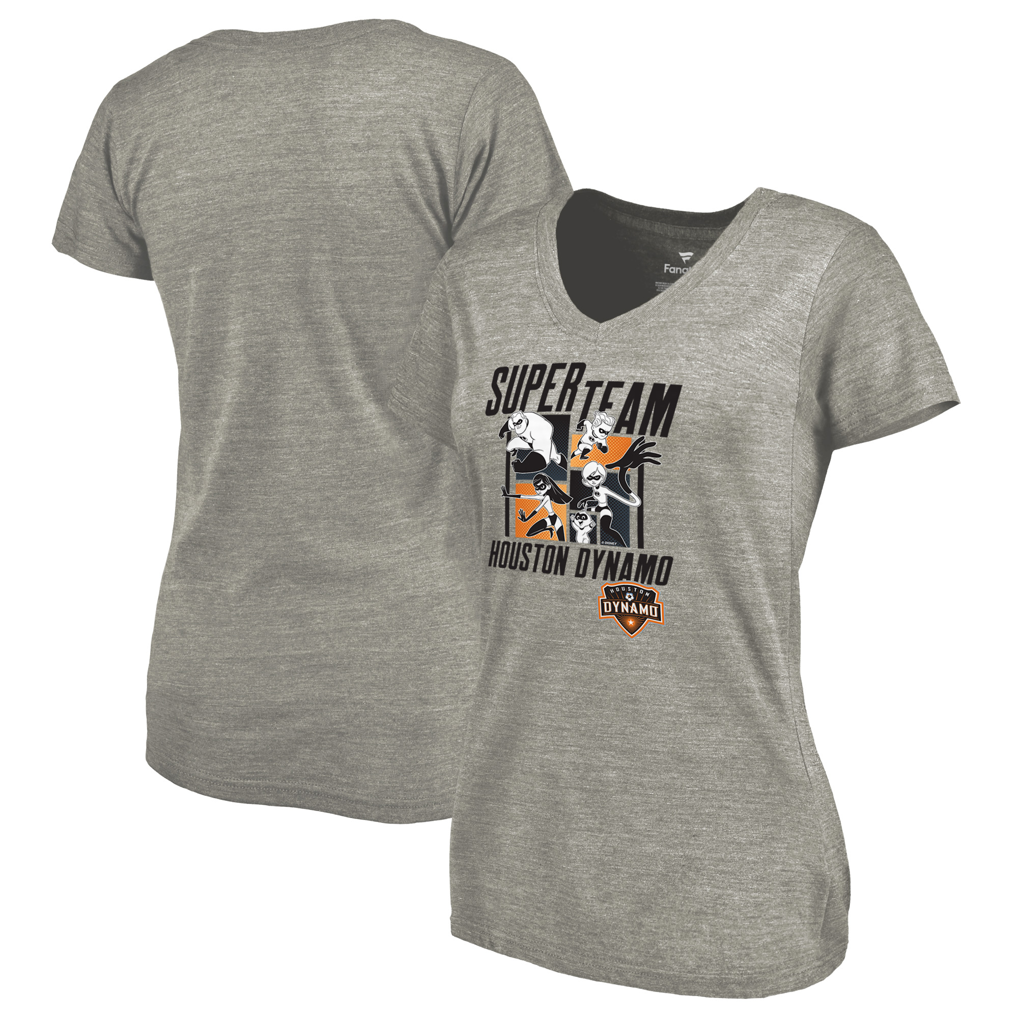 Houston Dynamo Fanatics Branded Women's Disney Pixar The Incredibles Super Team Tri-Blend V-Neck T-Shirt - Heathered Gray