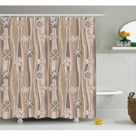 Floral Shower Curtain, Flourishing Spring Flowers Wavy Stripes Vintage Romantic Design, Fabric Bathroom Set with Hooks, 69W X 84L Inches Extra Long, Sand Brown Dark Brown Cinnamon, by -