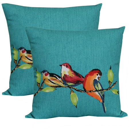 Mainstays 16 x 16 in. Birdie Turquoise Outdoor Toss Pillow - Set of - Onyx Toss Pillow