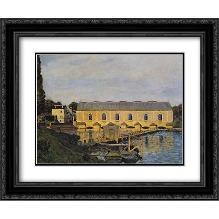 The Machine At Marly 2x Matted 24x20 Black Ornate Framed Art Print by Sisley, Alfred