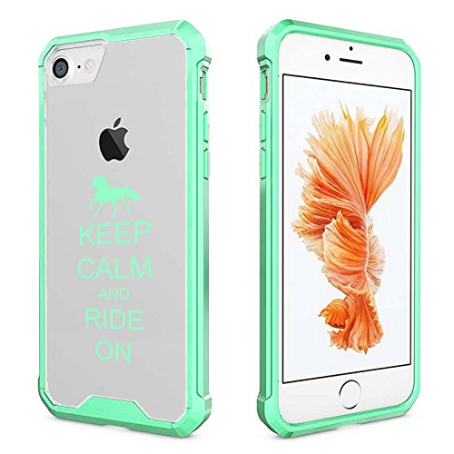 For Apple iPhone Clear Shockproof Bumper Case Hard Cover Keep Calm And Ride On Horse (Mint For iPhone 8 Plus)