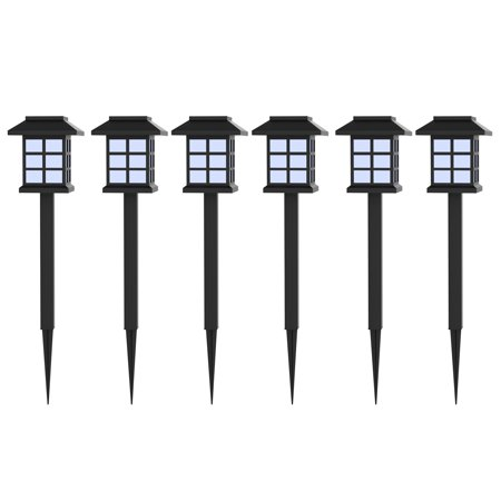 Solar Powered Lights (Set of 6)- LED Outdoor Stake Spotlight Fixture for Gardens, Pathways, and Patios by Pure Garden ()