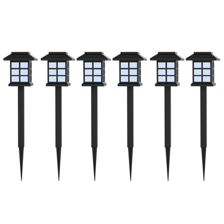 Solar Powered Lights (Set of 6)- LED Outdoor Stake Spotlight Fixture for Gardens, Pathways, and Patios by Pure Garden](Light Stakes)