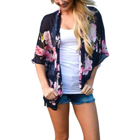 One Shoulder Kimono Top (EFINNY Women Loose Floral Boho Blouse Summer Chiffon Shawl Kimono Cardigan Coat Tops)