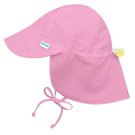 Iplay Flap Sun Hat for Baby Girls Sun Protection Large Billed Hat- Solid Light Pink-Infant 9-18 Months Baby Girl Hat Is Adjustable To Fit Outdoor Hat With Chin Strap and Neck Flap; Beach Baseball Swim