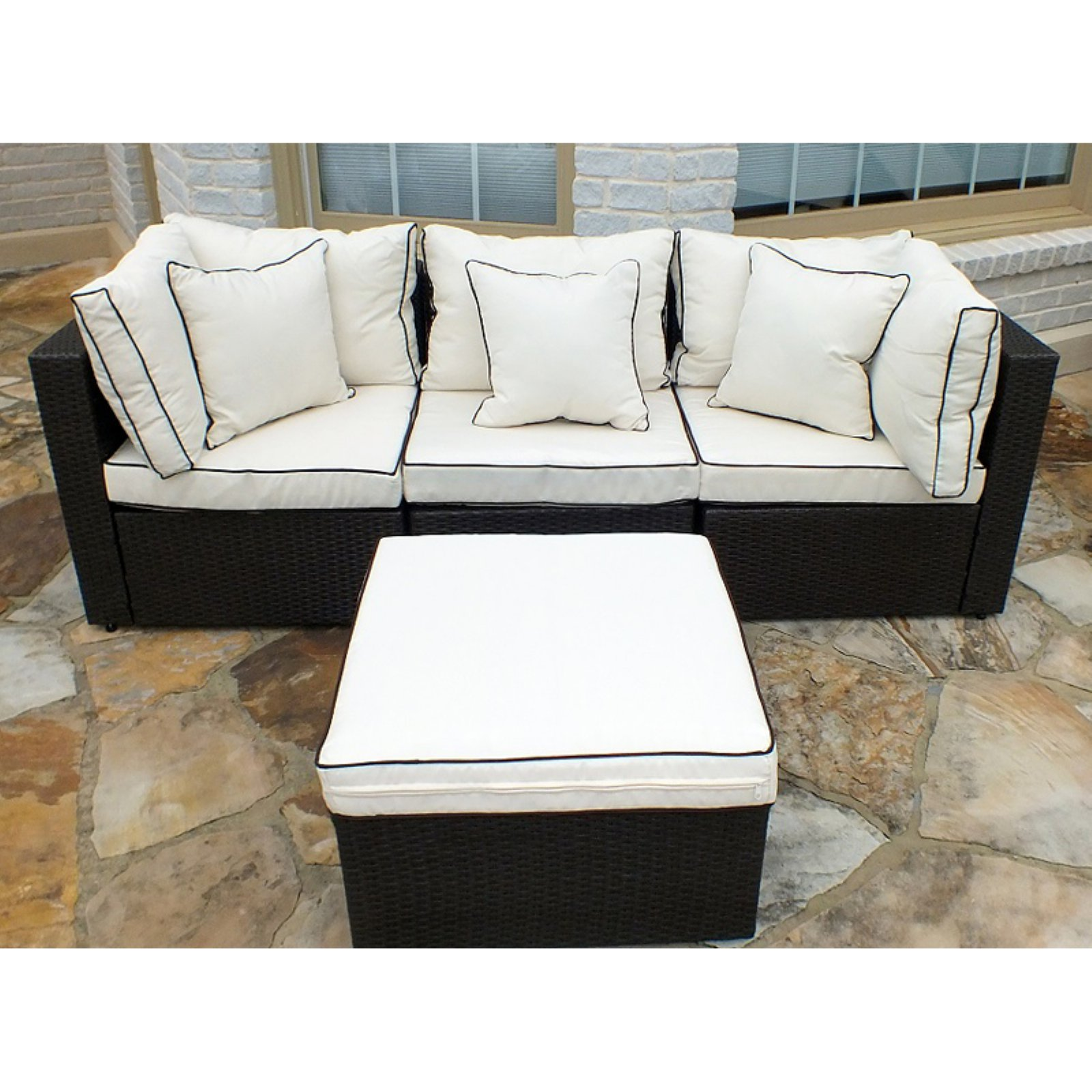 JJ International Hampton Wicker Patio Sofa With Ottoman