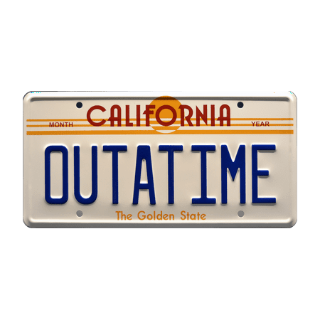 Back to the Future | DeLorean Time Machine | OUTATIME | Metal Stamped Replica Prop License (Delorean License Plate Back To The Future)