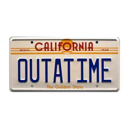 Back to the Future | DeLorean Time Machine | OUTATIME | Metal Stamped Replica Prop License Plate ()