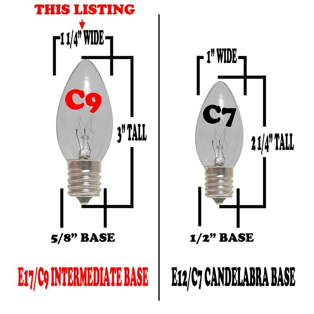 Novelty Lights 7 Watt C9 Incandescent Dimmable Light Bulb E17 Intermediate Base Set Of 25