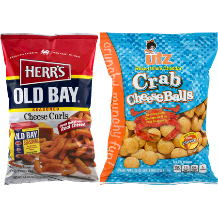 Old Bay Flavored  Cheese Curls and White Cheddar Crab Cheeseballs Variety
