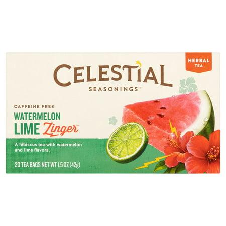 Celestial Seasonings Zinger Watermelon Lime Herbal Tea Bags, 20 count, 1.5 oz, 6 pack (Dry Lime Tea)