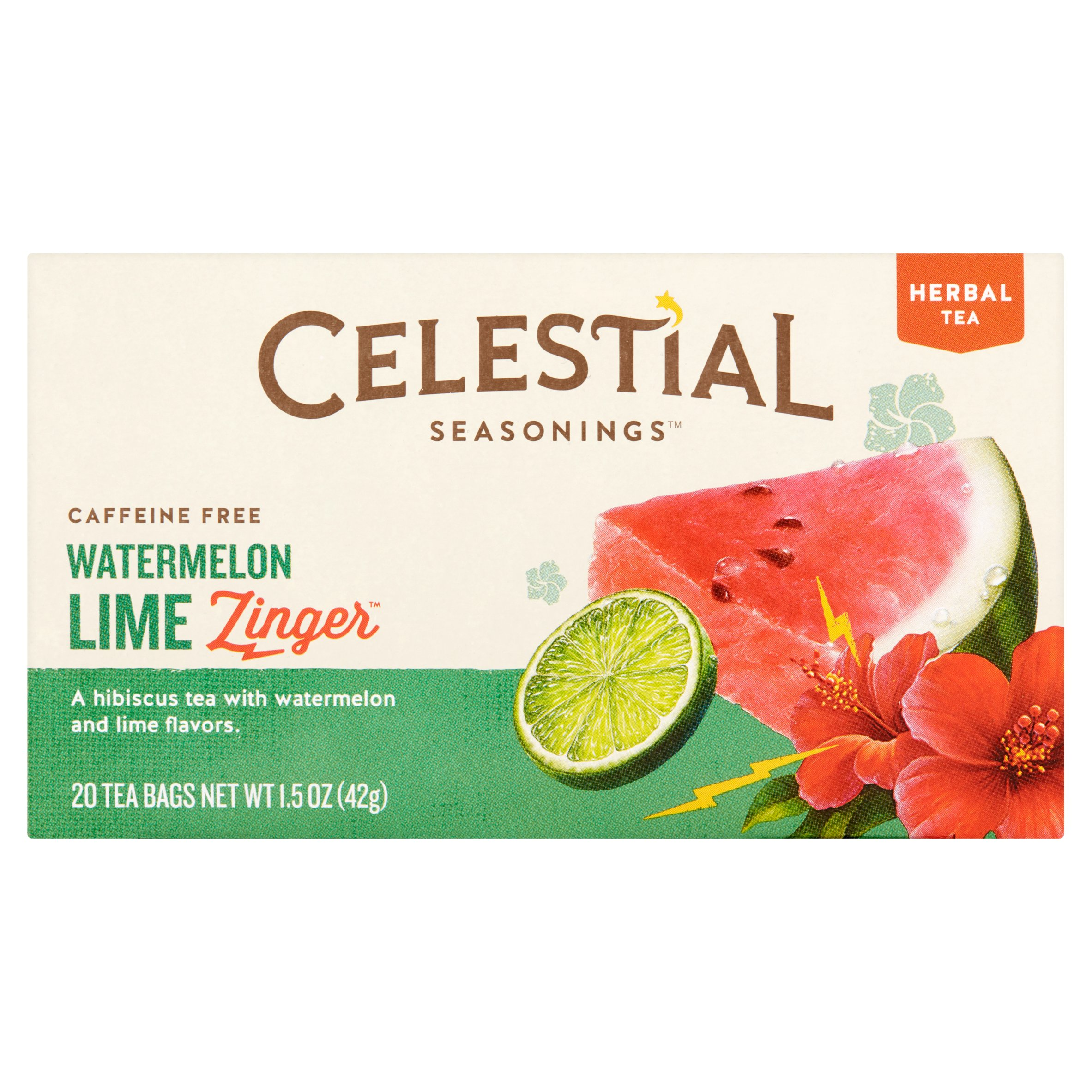 Celestial Seasonings Zinger Watermelon Lime Herbal Tea Bags, 20 count, 1.5 oz, 6 pack