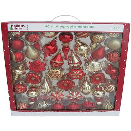 holiday time red and gold shatterproof christmas ornaments set of 80