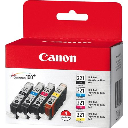 Canon 2946B004 (CLI-221) Ink, Black/Cyan/Magenta/Yellow, 4/PK