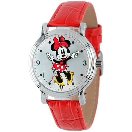 Disney Womens Shinny Silver Vintage Articulating Alloy Case Watch, Red Leather Strap
