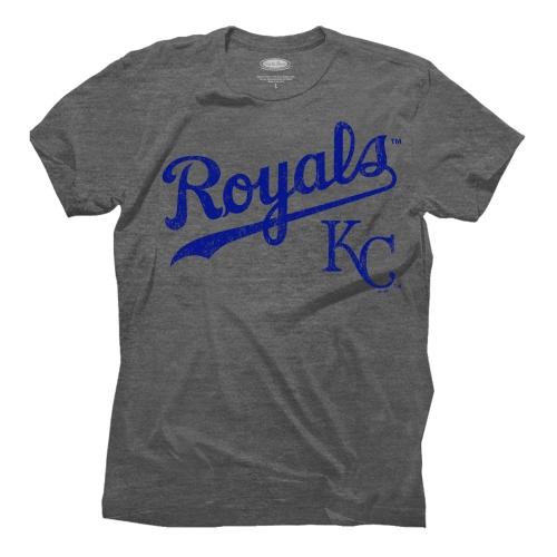 Kansas City Royals Majestic Threads Granite Tri-Blend Crew T-Shirt - Gray
