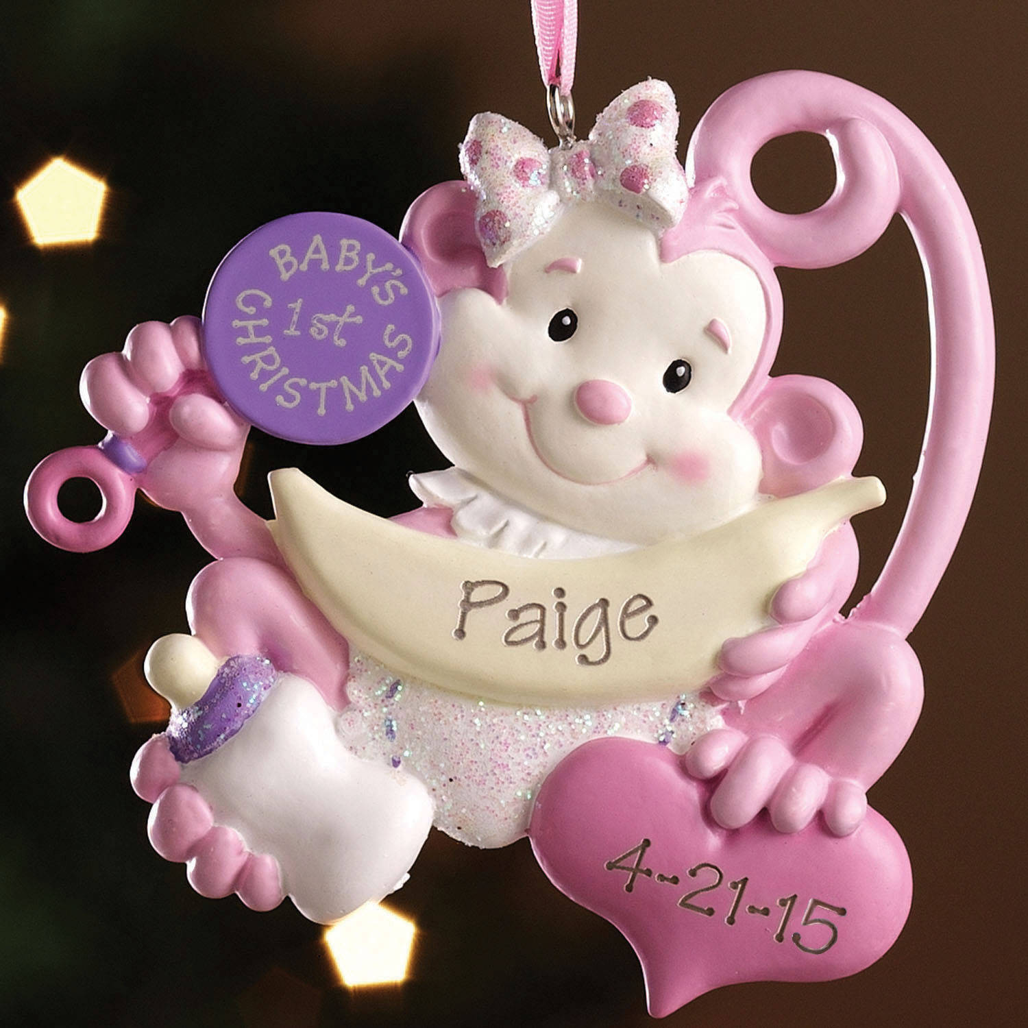 Personalized babys first christmas monkey ornament walmart negle Image collections