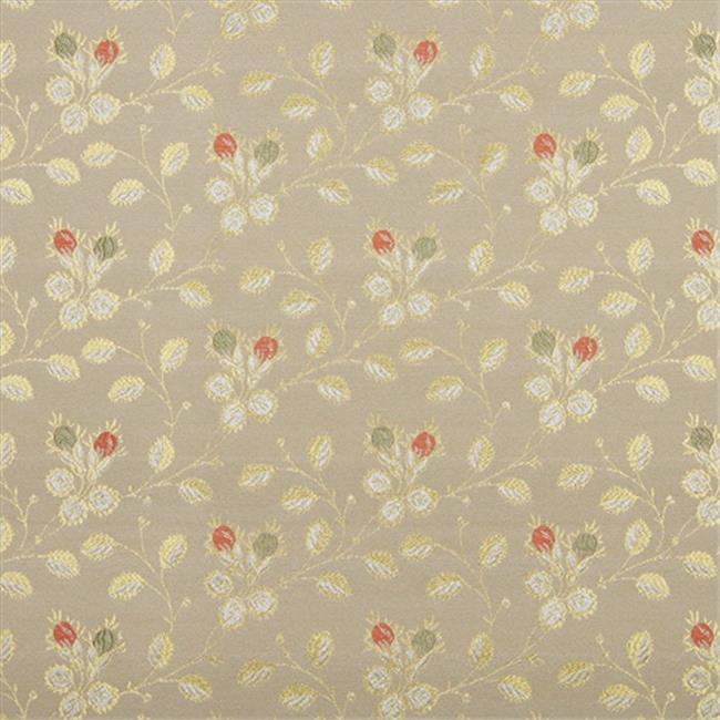 Designer Fabrics D147 54 inch Wide Gold, White, Red And Green, Floral Brocade Upholstery Fabric