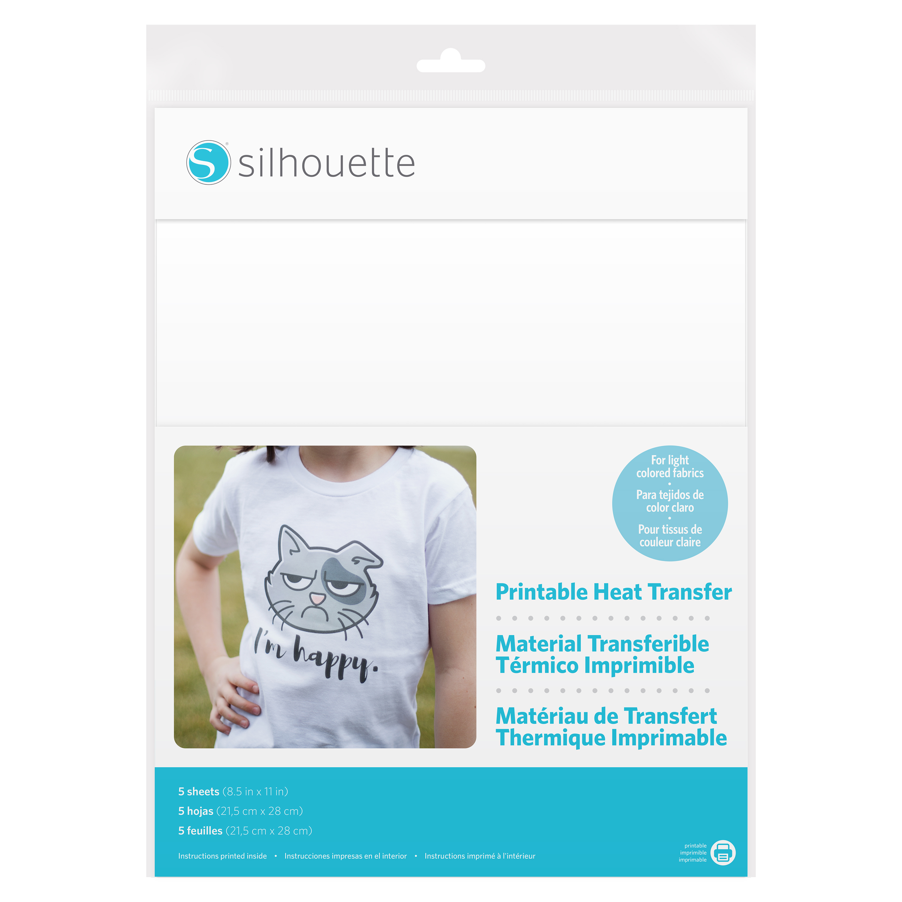 Silhouette printable heat transfer for light fabric