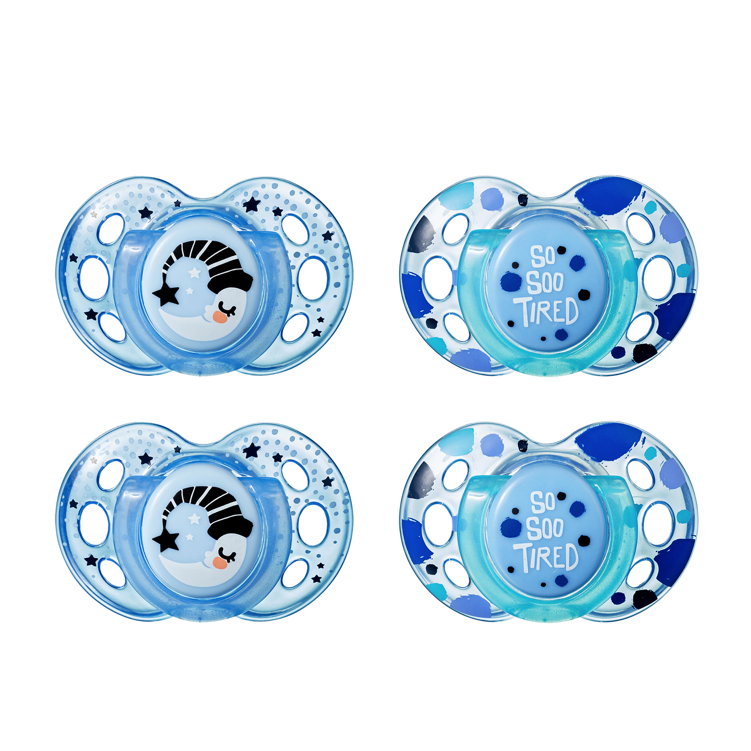 Tommee Tippee Closer to Nature Night Time Infant Pacifier, 18-36m, 4pk, Boy