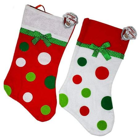 Christmas Stocking Round Polka Dots White Red- 2 Pc Holiday Seasonal Novelty Treats Neighbors Decoration Hanging Loop - Novelty Christmas Stockings