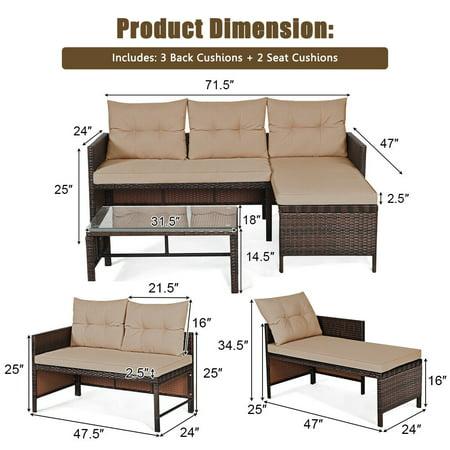 Costway 3PCS Patio Wicker Rattan Sofa Set Outdoor Sectional Conversation Set Garden Lawn - image 3 of 9