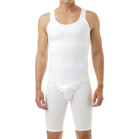 Underworks Mens Compression Bodysuit Shaper - Girdle for Gynecomastia Belly Fat and Thighs - Mens Bodysuit
