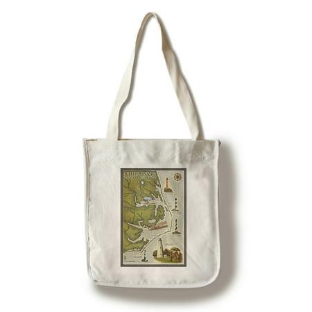 Outer Banks, North Carolina - Lighthouse & Town Map - Lantern Press Artwork (100% Cotton Tote Bag -