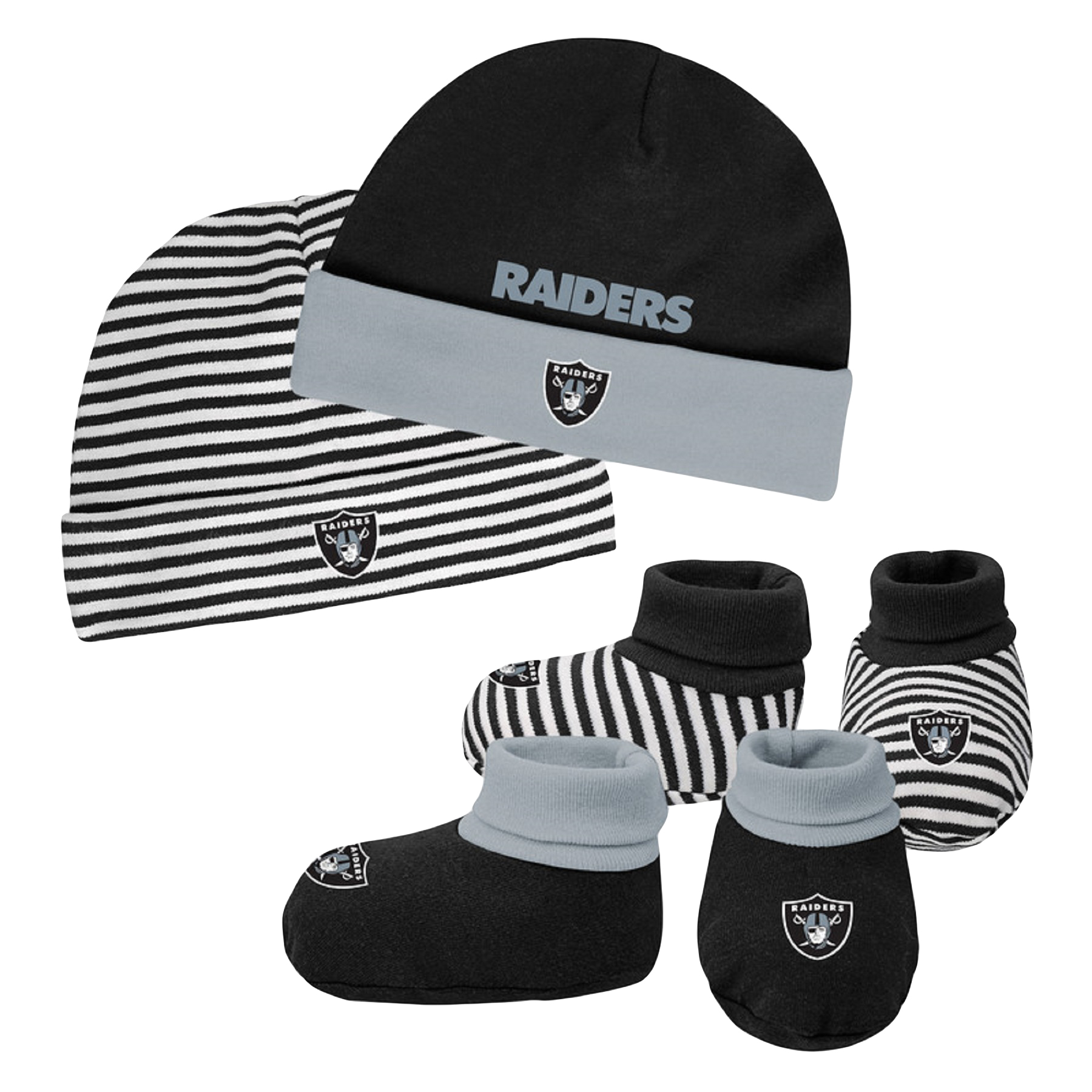 Newborn & Infant Black/Silver Oakland Raiders Cuffed Knit Hat & Booties Set - Newborn