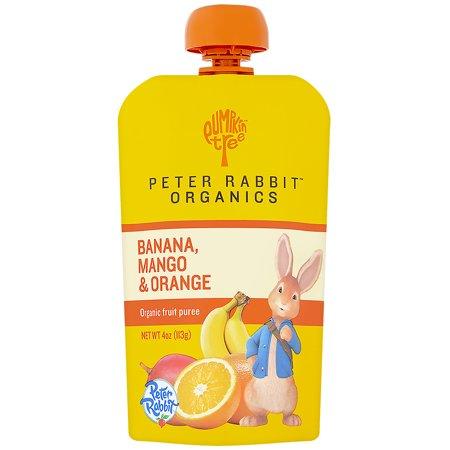 Pumpkin Halloween Snacks (Pumpkin Tree Snacks, Peter Rabbit Organics, Organic Fruit Puree, Banana, Mango & Orange, 4 oz(pack of)