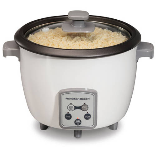 Hamilton Beach 37547 16-Cup Digital Rice Cooker, White