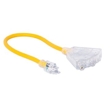 Internet S Best Pigtail Triple Tap Extension Cord With Led Lighted Plug 2 Ft Extension 12 Awg Gauge 12 3 Heavy Duty Outdoor Indoor Power Extension Cable Cord 3 Outlet Yellow Walmart Com Walmart Com