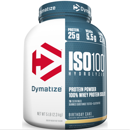 Dymatize ISO 100 Hydrolyzed Whey Protein Isolate Powder Birthday Cake 25g Serving 5 Lb