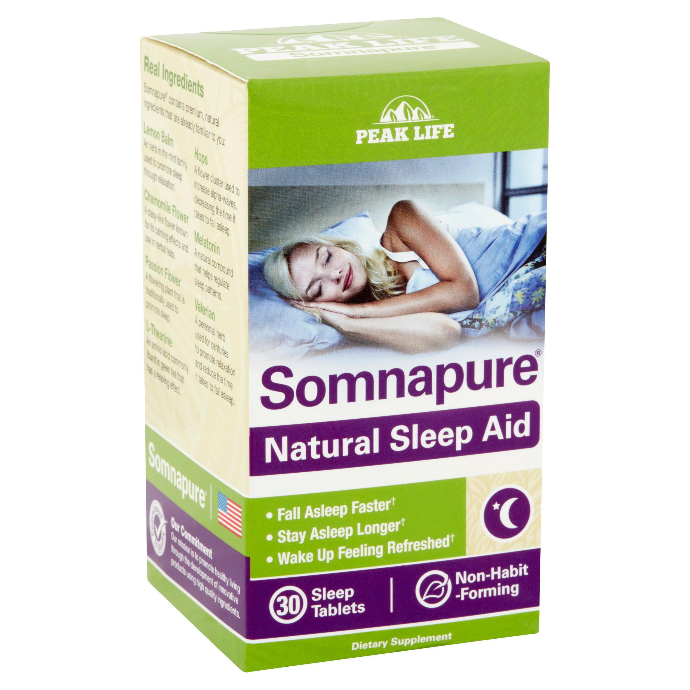 peak life somnapure natural sleep aid tablets 30 ct walmart com