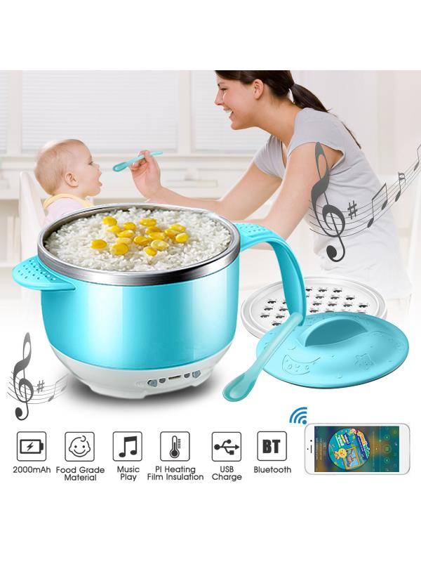 AUGIENB Smart Children Kid Baby Feeding Bowl BPA-free with bluetooth Speaker & Heat-sensing Spoon & Heat... by AUGIENB