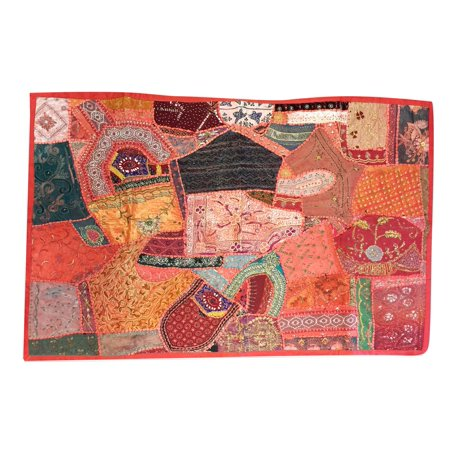 Mogul Decorative Embroidered Reds, Oranges, Sunset Hues, Pinks, Green and Black SAri Wall Decor Patchwork Vintage Tapestry Table -