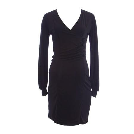 bced7a2a4aabb OLIAN Maternity Women's Black Beaded Button Accent Faux Wrap Dress