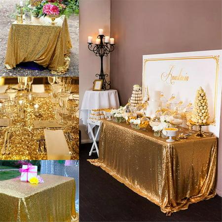 100*150cm Rectangular Sequin Tablecloth Glitter Gold Sequin Table Cloth
