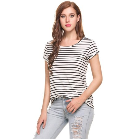 Women Casual T Shirt O Neck Short Sleeve Striped Pullover Elastic Top