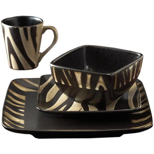 American Atelier Safari Zebra White 16-Piece Dinnerware Set by Jay Import