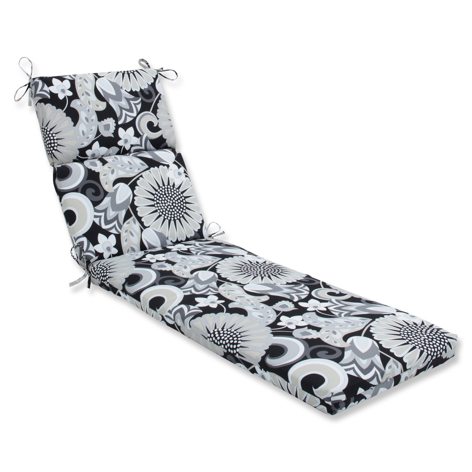 Pillow Perfect Outdoor/Indoor Sophia Graphite Chaise Lounge Cushion