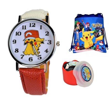 Pokemon Pikachu Quartz Analog Wrist Watch For Men Women Boys Girls.Fashion Large Modern Display.Luminous Watch Hands.