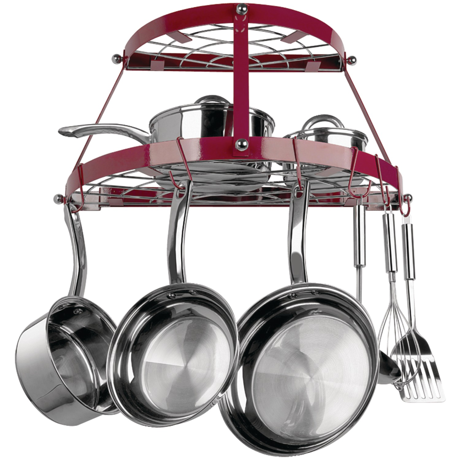 Range Kleen CW6003R Double-shelf Wall-mount Pot Rack (red)