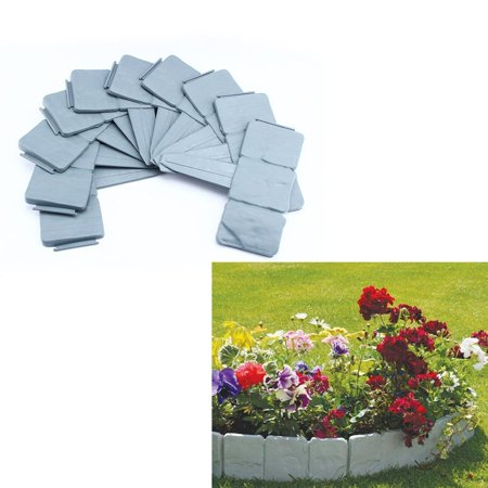 Interlocking Faux Cobble Stone Landscaping Garden Border Set Of 10 Grey