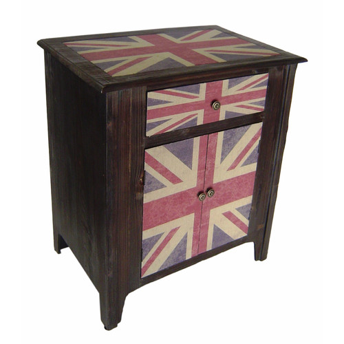 Cheungs Union Jack 1 Drawer 2 Door Accent Cabinet