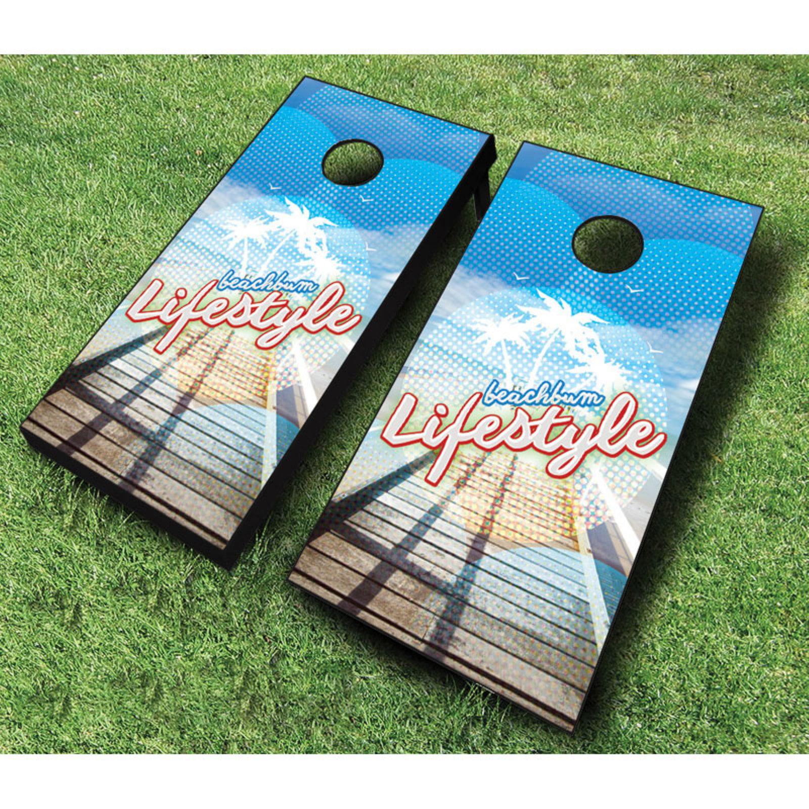 AJJ Cornhole Beach Bum Lifestyle Cornhole Set with Bags by