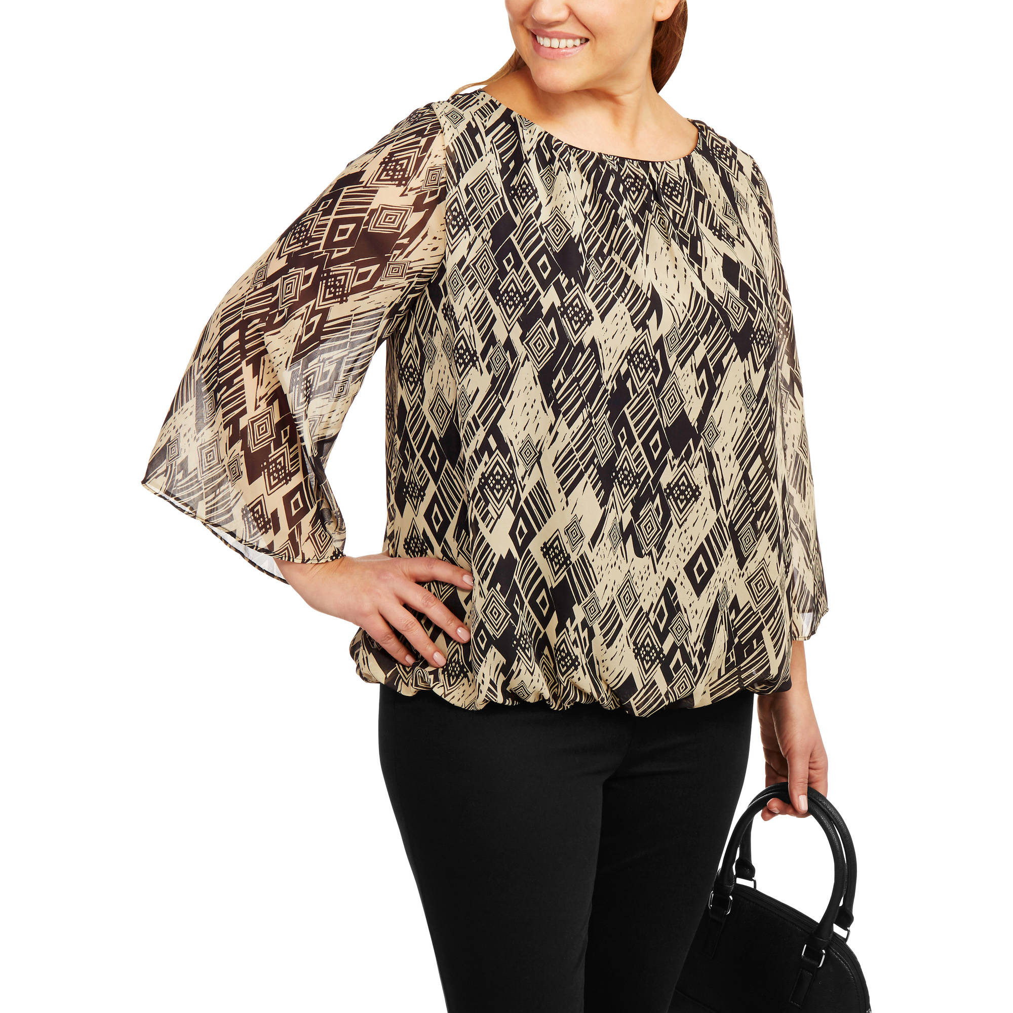 Glamour & Co. Women's Plus-Size Watercolor Long Sleeve Top