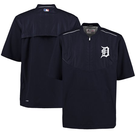 Detroit Tigers Majestic Men's On-Field Training Half Zip Pullover Jacket - (Majestic Trainer Jacket)