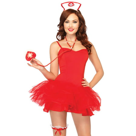 Leg Avenue Women's 3 Piece Naughty Nurse Costume Kit, White/Red, One Size](Halloween Naughty)